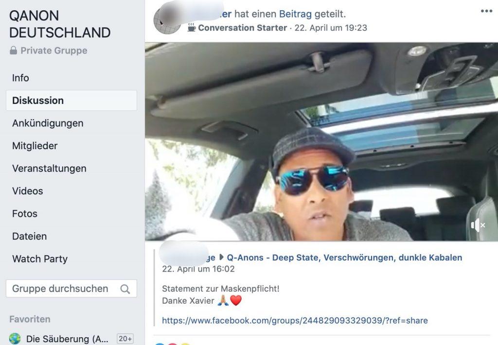 Xavier Naidoo:: Es gibt neue Videos vom singenden Verschwörungsforscher; Screenshot Facebook