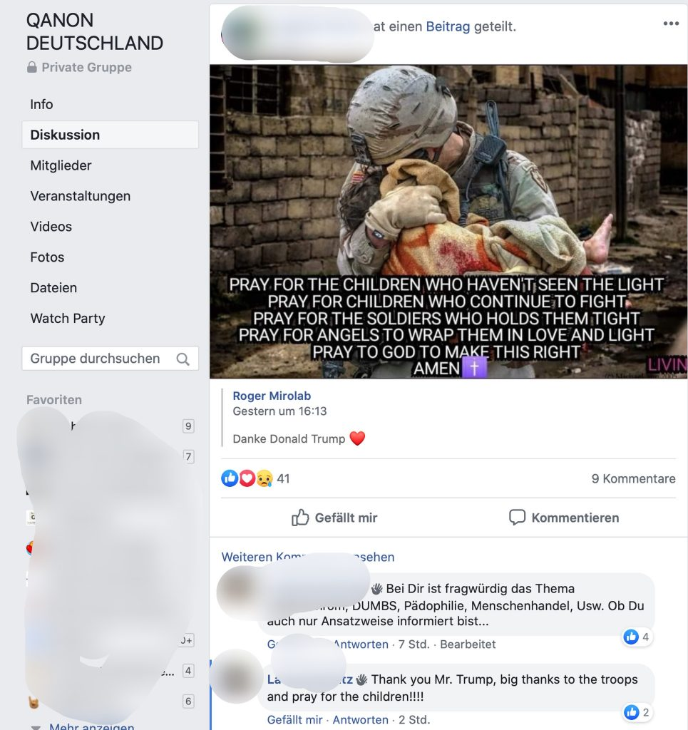 """Thank you Mr. Trump"" - verwirrte Kommentatoren bei QANON Deutschland; Screenshot Facebook"
