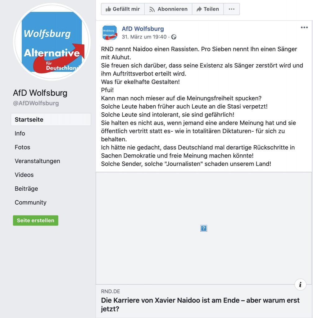 """Die korrekte Bezeichnung von Naidoo durch Pro7 als """"Sänger mit Aluhut"""" schmeckt der AfD in Wolfsburg nicht; Screenshot Facebook"""