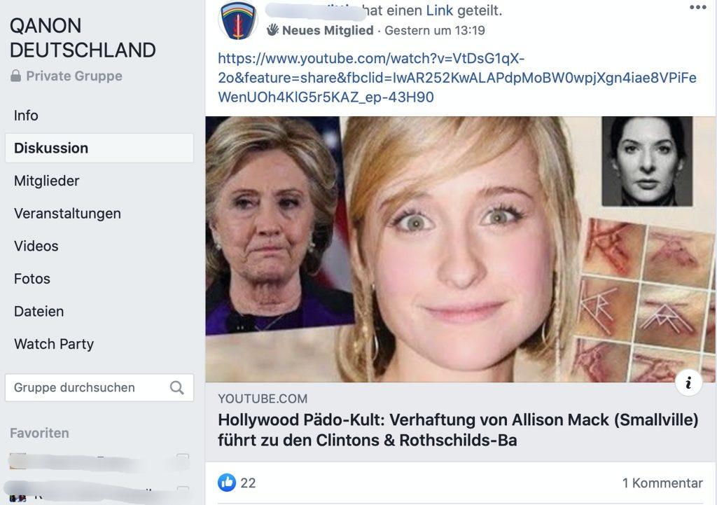 Antisemitische Verschwörungstheorie: Hillary Clinton und die Rothschilds - und ihre angeblichen Verbindungen zu Kinderschändern und Ritualmördern; Screenshot Facebook