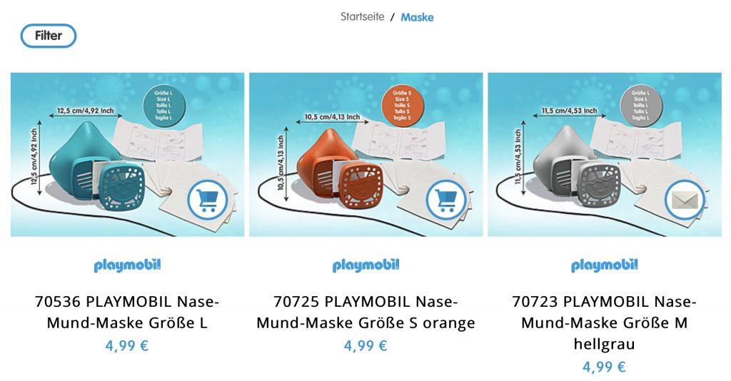 Die Nase-Mund-Maske von Playmobil auch in den Größen S und M!; Screenshot PLAYMOBIL-Systems