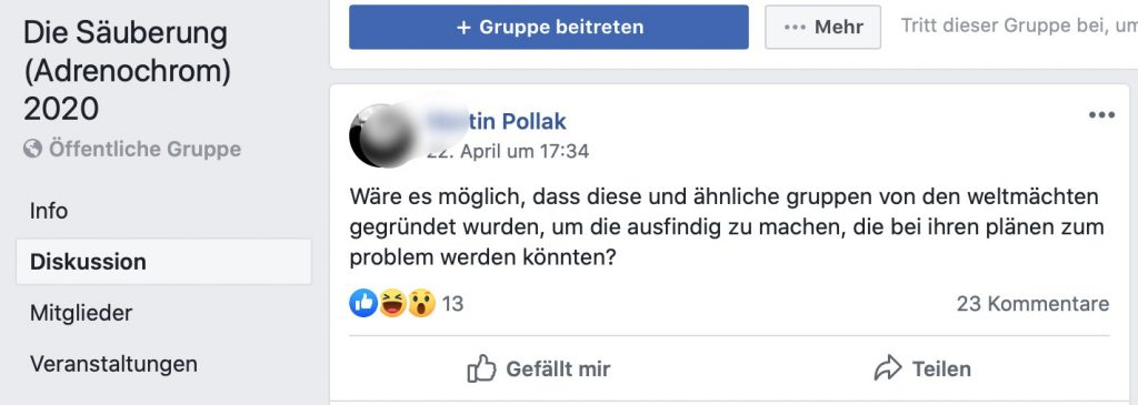 Genialer Trick der Kabale: Gruppen gründen, Dissidenten identifizieren; Screenshot Facebook