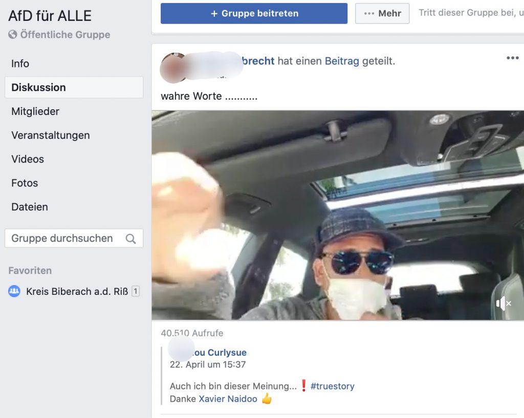 Bei der AfD stark im Schwange: Verschwörungsbarde Xavier Naidoo; Screenshot Facebook