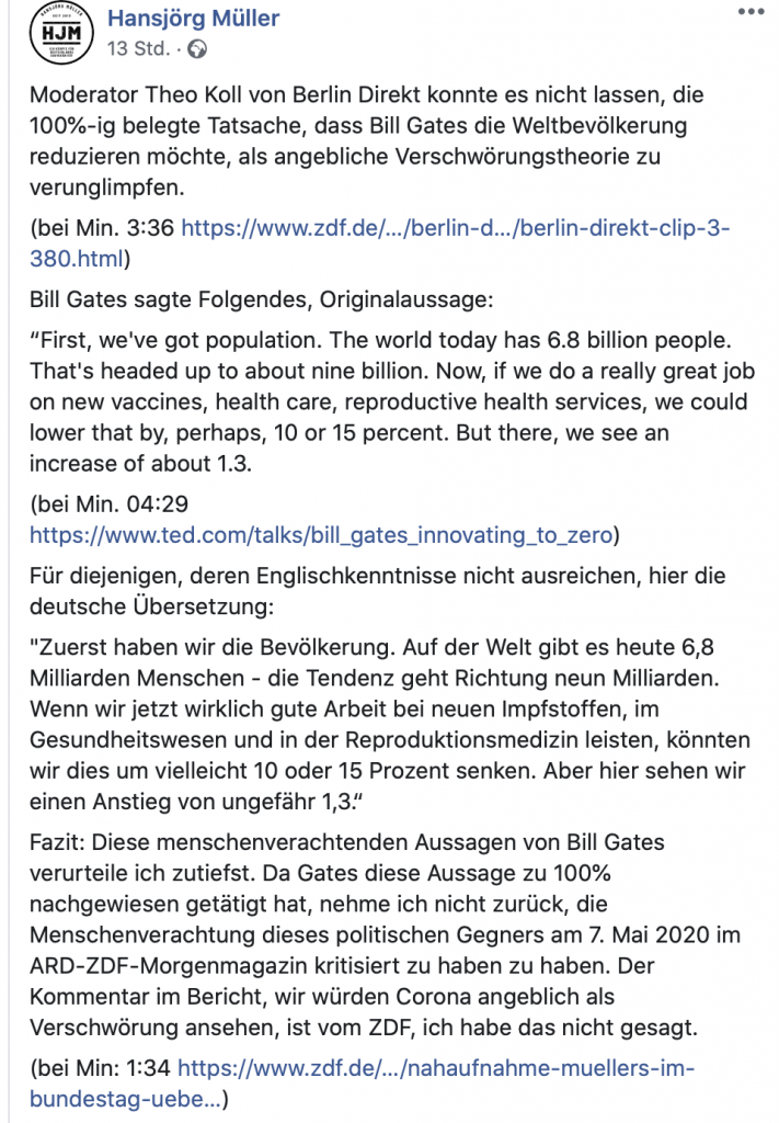 Fake News: Hansjörg Müller verbreitet sie aktiv; Screenshot Facebook