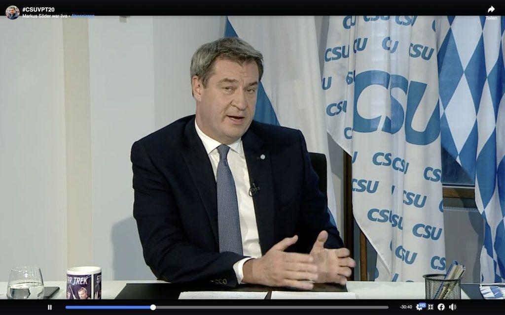 Markus Söder (CSU) beim ersten virtuellen Parteitag der CSU