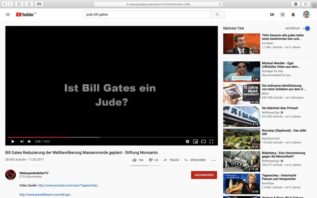 Bill Gates: Reduzierung der Weltbevölkerung geplant; Screenshot YouTube