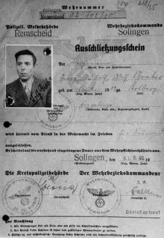Ausschließungsschein; Foto: Archiv Adolf Graber