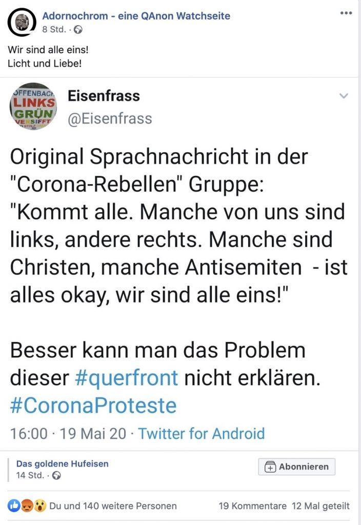 """""""Manche sind Christen, manche Antisemiten - ist alles okay"""" Screenshot Facebook"""