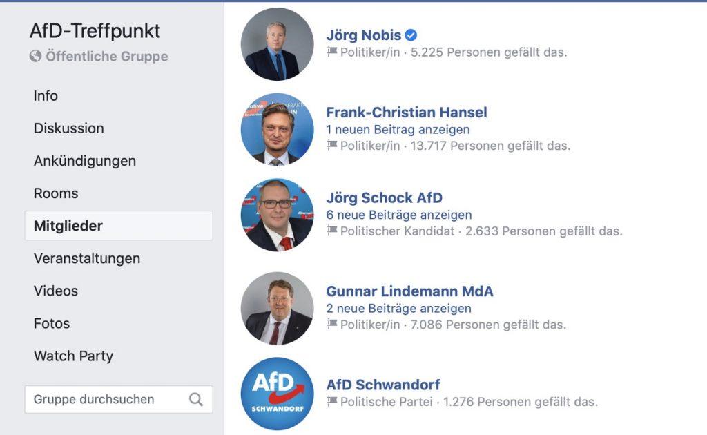 AfD-Treffpunkt: Moderiert werden Hasskommentare nicht; Screenshot Facebook