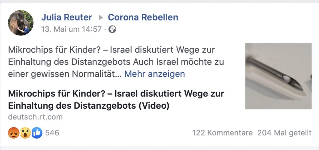 "Fake-News in der Gruppe ""Corona-Rebellen""; Screenshot Facebook"