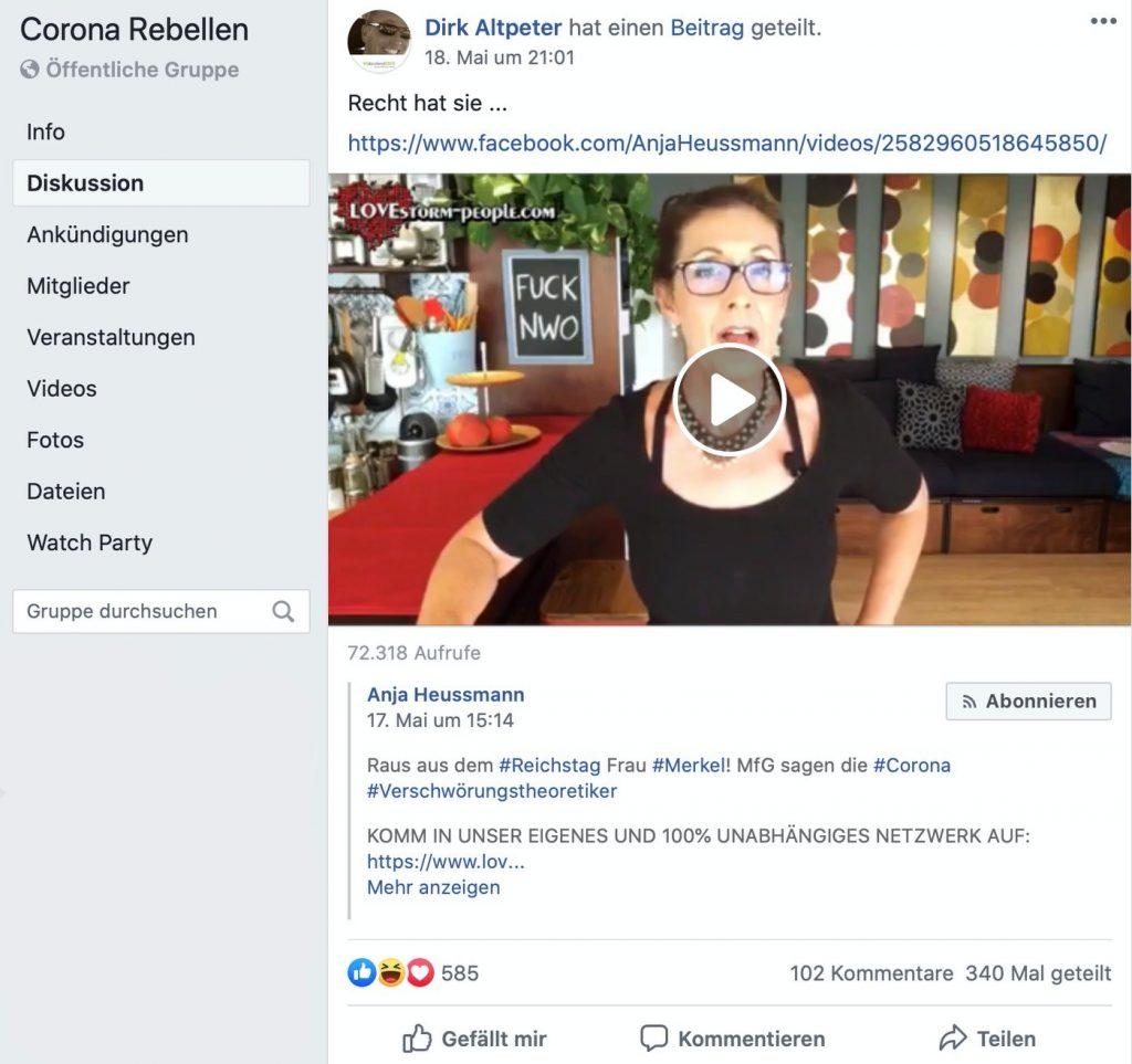 Querfrontlerin Anja Heussmann schwurbelt rum; Screenshot Facebook