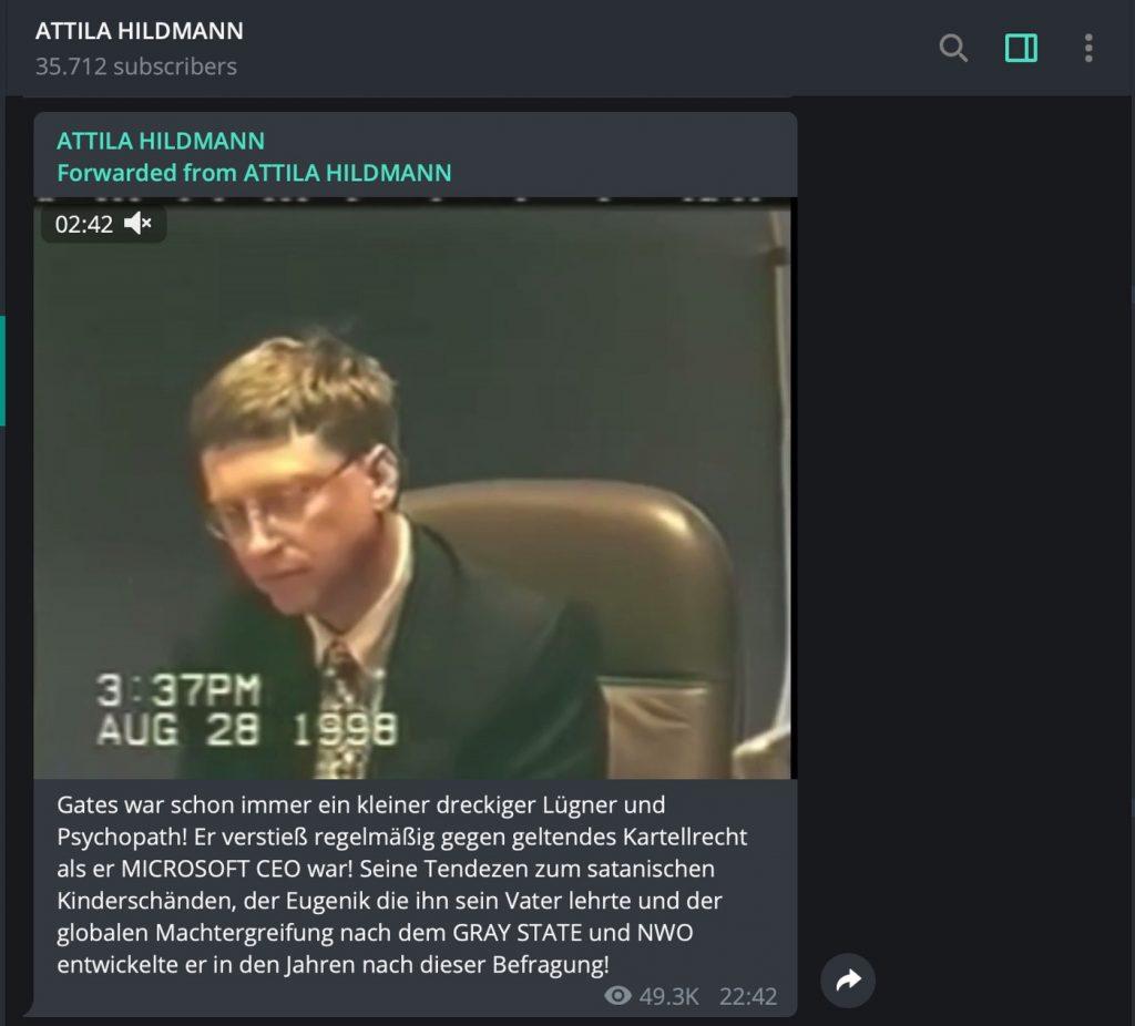 Attila Hildmann fällt durch üble Beleidigungen auf; Screenshot Telegram