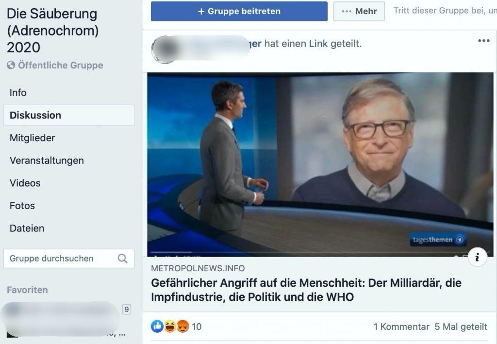 Bill Gates: Im Visier von Verschwörungstheoretikern; Screenshot Facebook