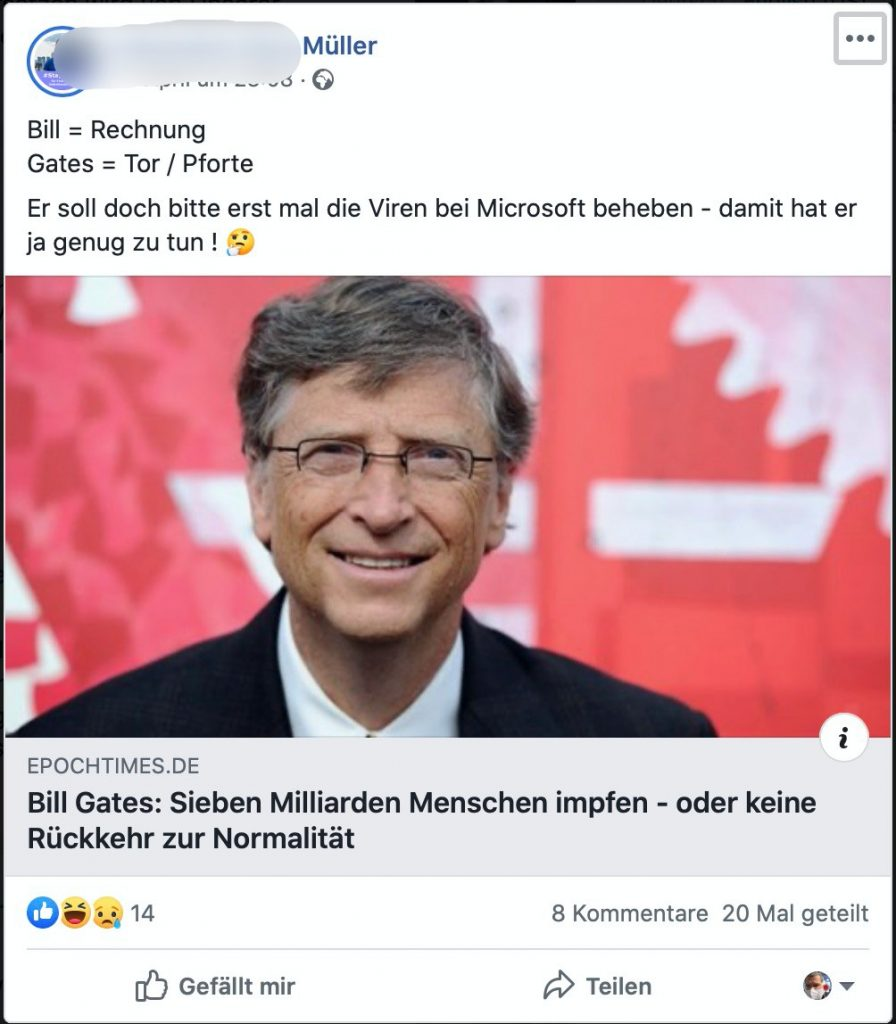Bill = Rechnung / Gates = Tore; Screenshot Facebook