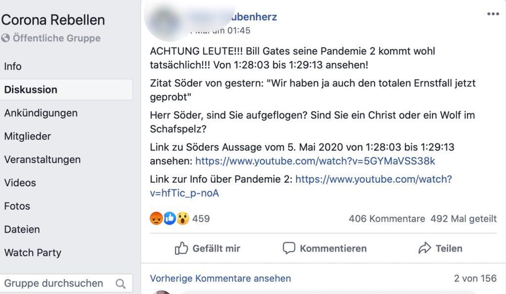 """Erbärmlich: Die Aufdeckung von """"Verschwörungen"""" über YouTube; Screenshot Facebook"""