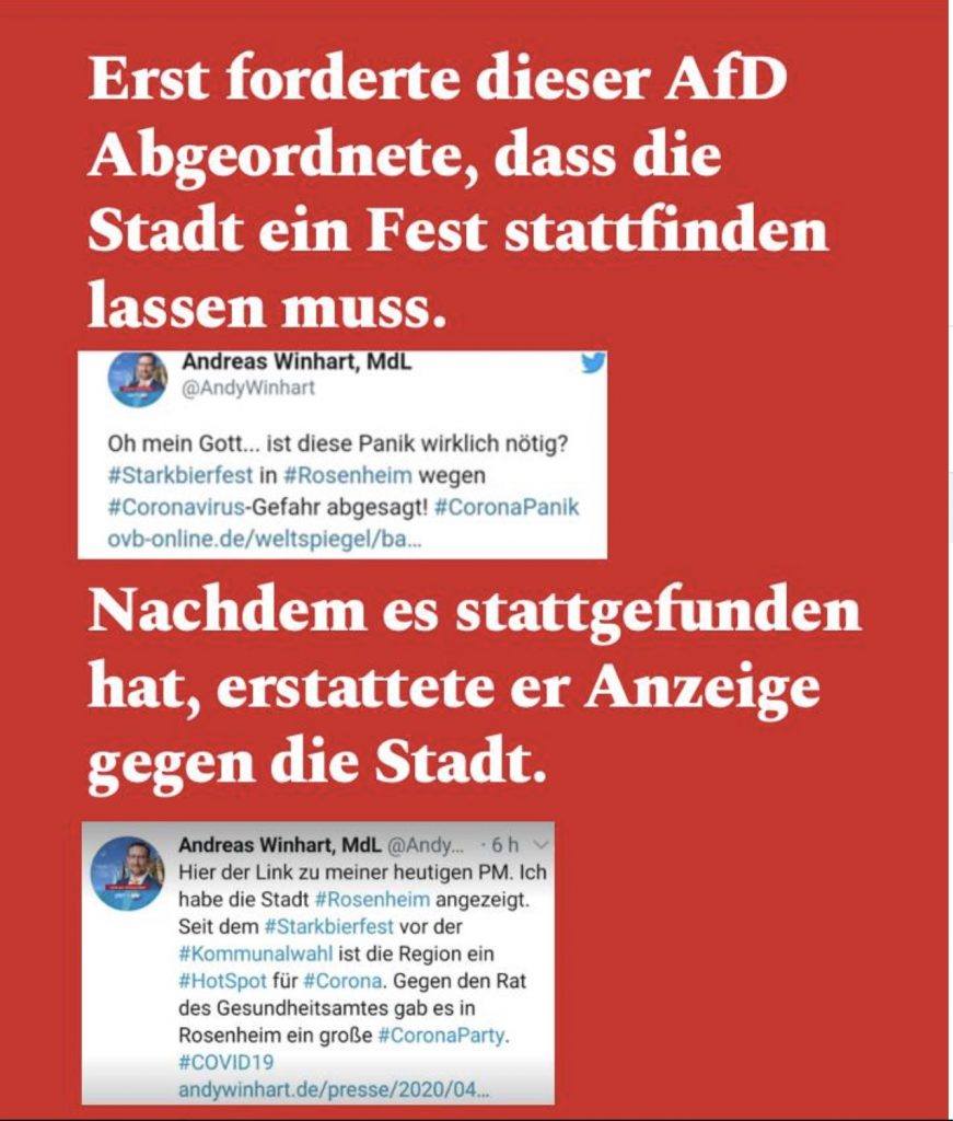 Chaos und Ziellosigkeit bei der AfD; Screenshot Facebookbseite Chemtrailstaffel 47