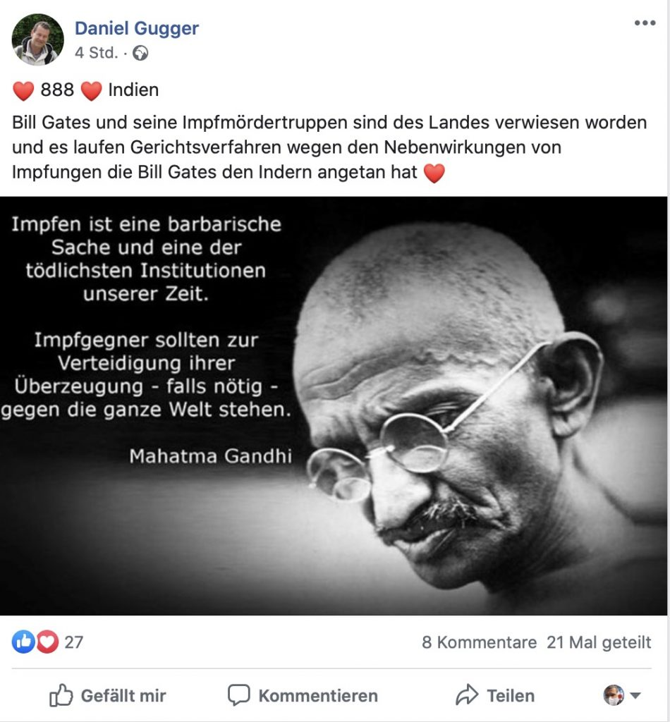 "Fake-News: Es gibt keine ""Impfmördergruppe""; Screenshot Facebook"