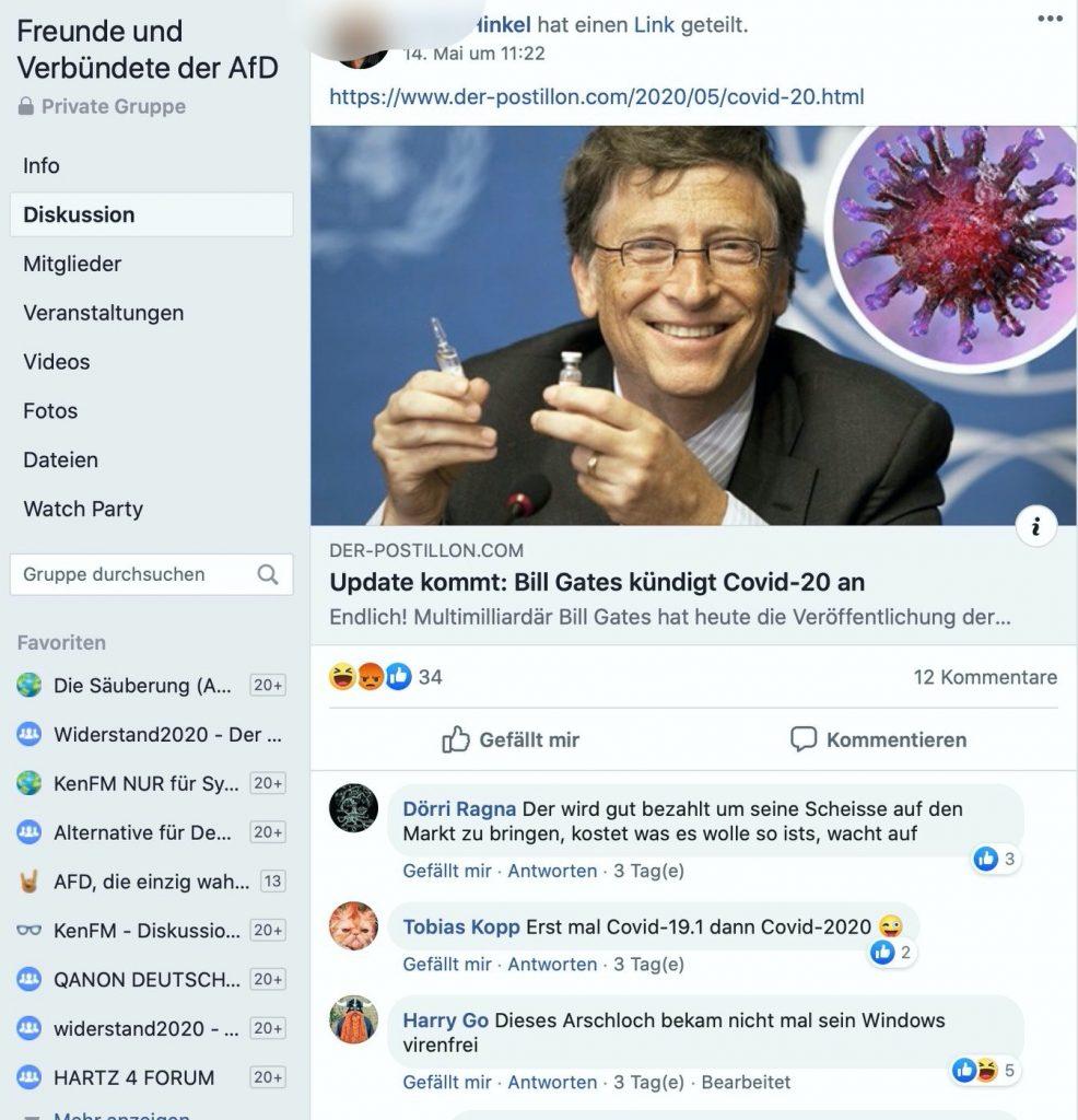 Üble Kommentare zu einem Postillion-Beitrag; Screenshot Facebook