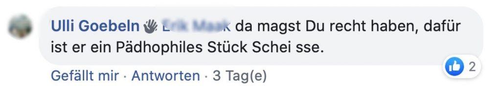 """""""Pädophiles Stück Scheiße"""" Screenshot Facebook"""