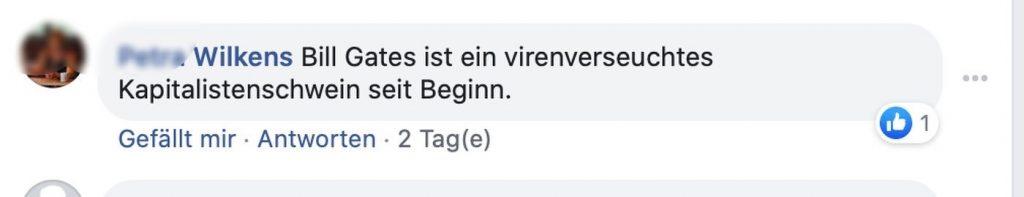 """""""virenverseuchte Kapitalistenschwein"""" Screenshot Facebook"""