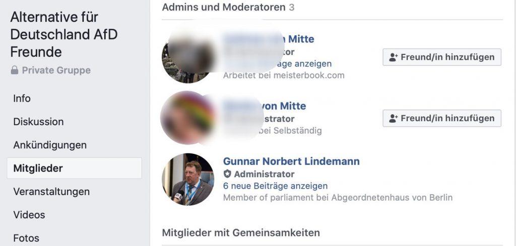 Alternative für Deutschland AFD Freunde; Screenshot Facebook