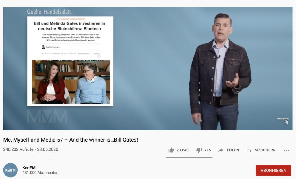 """""""Die Regierung lügt"""" - Fake-News bei KenFM; Screenshot YouTube"""