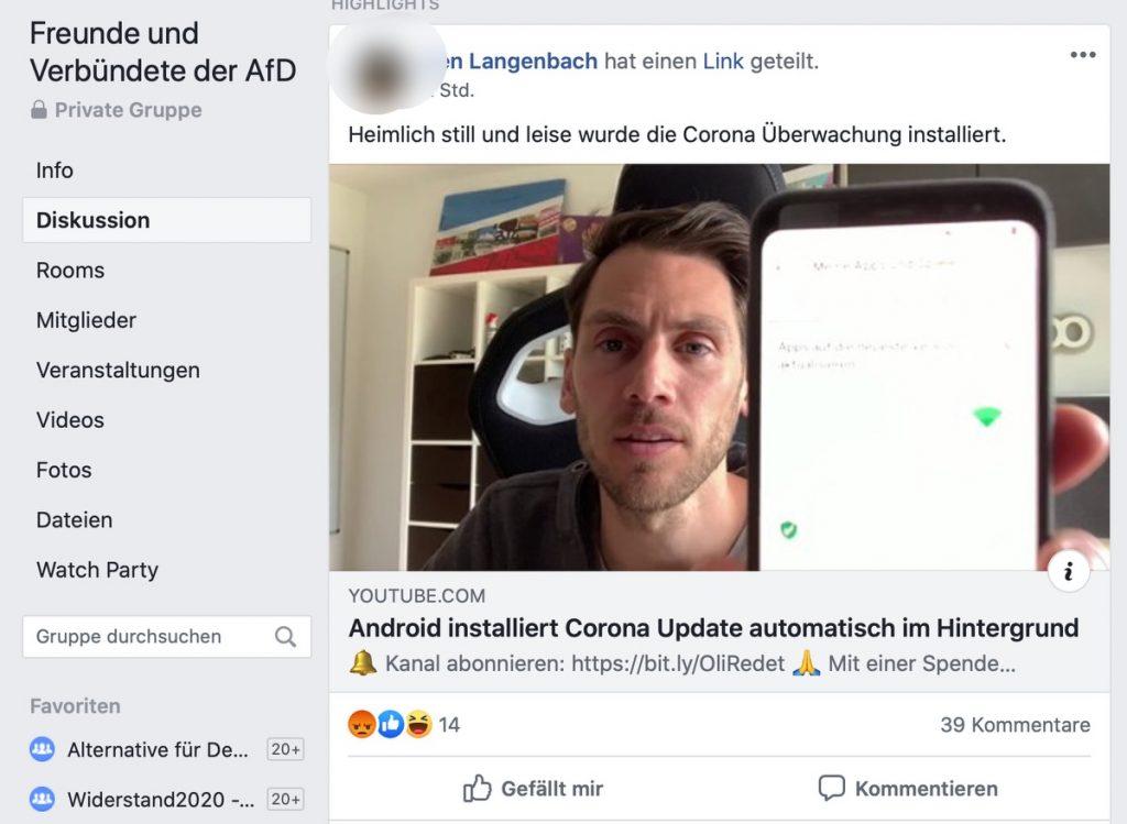 Klar: Auch AfD-Sympathisanten teilen Fake-News; Screenshot Facebook