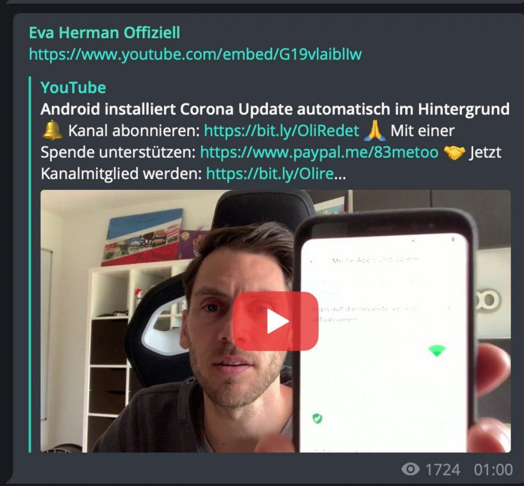 Corona-App: Eva Hermann teilt Blödsinn; Screenshot Telegram