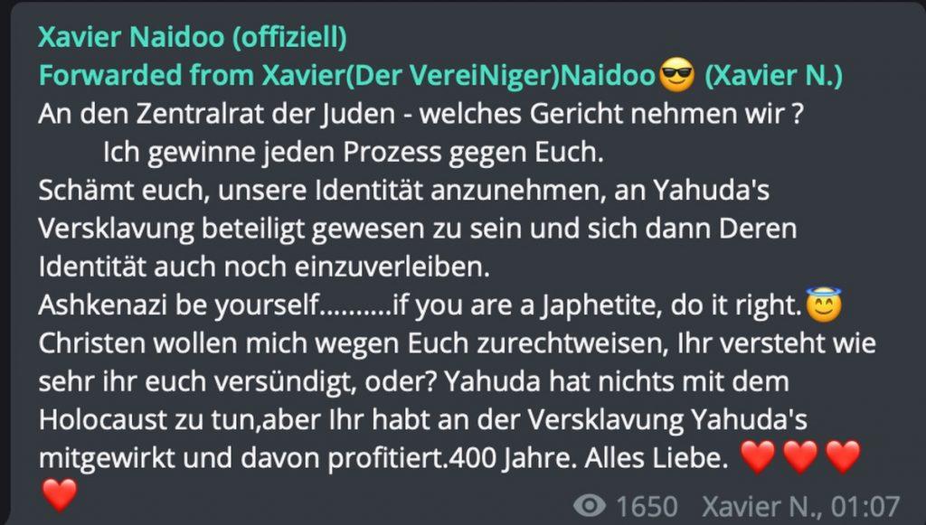 Xavier und der Zentralrat der Juden; Screenshot Telegram