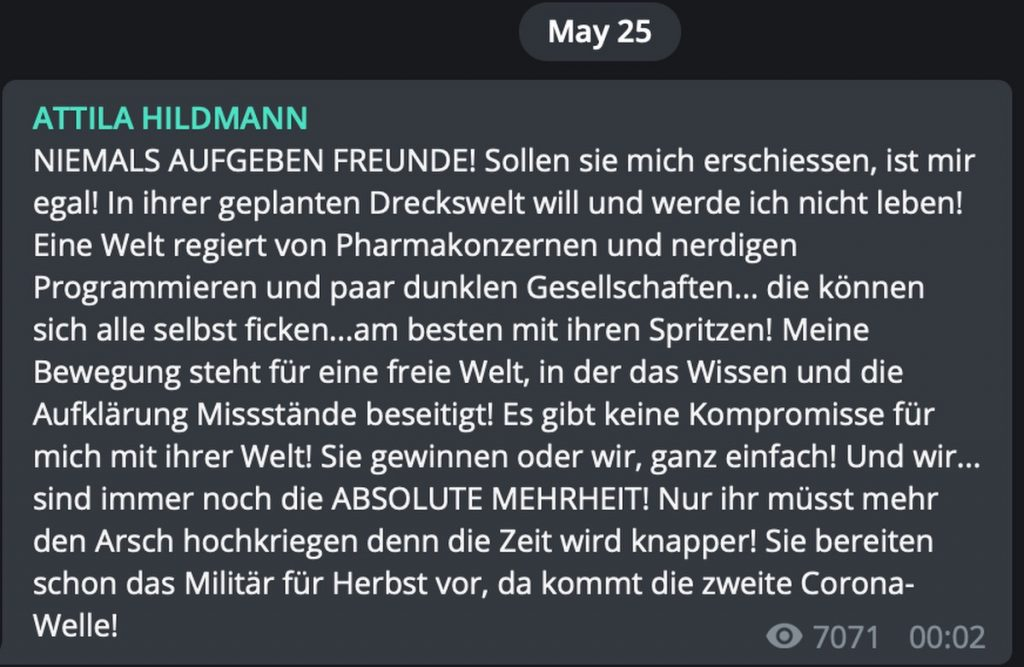 Märtyrer-Phantasien von Attila Hildmann; Screenshot Telegram