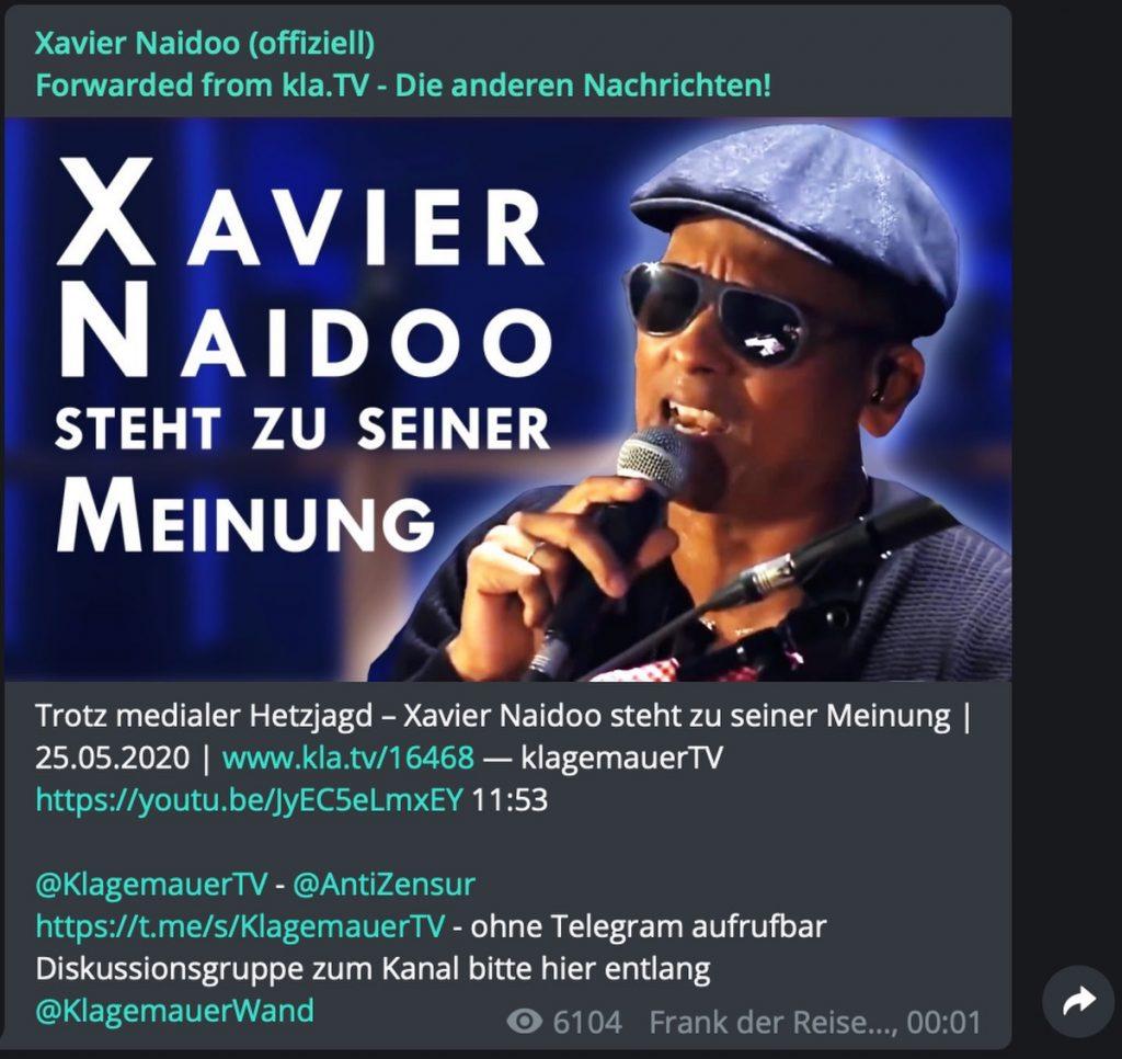 Naidoo bei Kla.TV; Screenshot Telegram