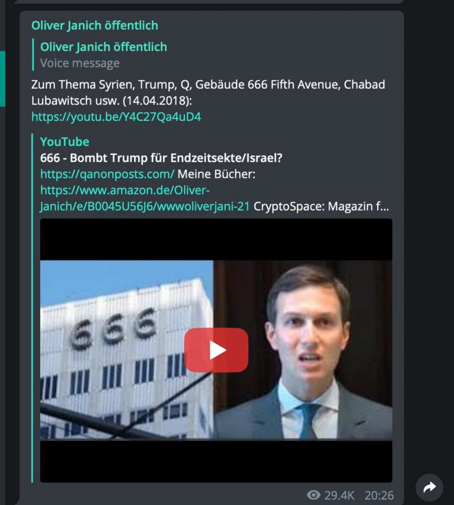 Feindbild Jared Kushner - auch bei Xavier Naidoo; Screenshot Telegram