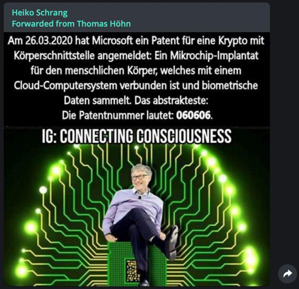 Fake-News zu Bill Gates; NEIN: Es gibt kein Patent für ein Implantat; Screenshot Telegram