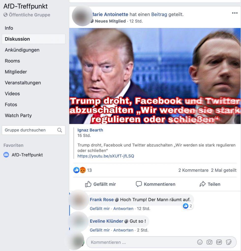 Facebook und Twitter abschalten: Die AfD würde an Reichweite verlieren. Immerhin.; Screenshot Facebook