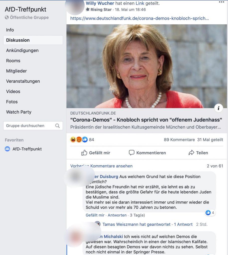 AfD-Treffpunkt: Beitrag über Judenhass; Screenshot Facebook