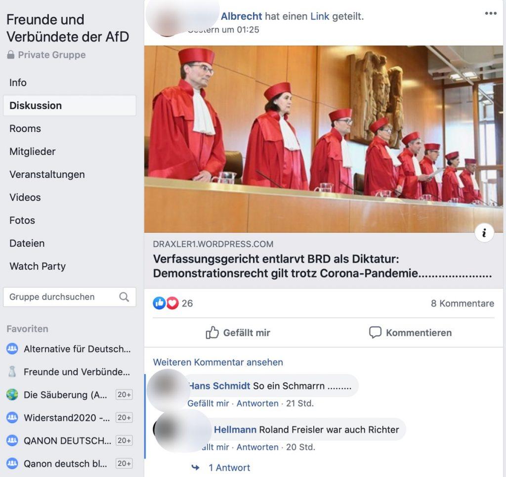 """""""Roland Freisler war auch ein Richter""""; Screenshot Facebook"""