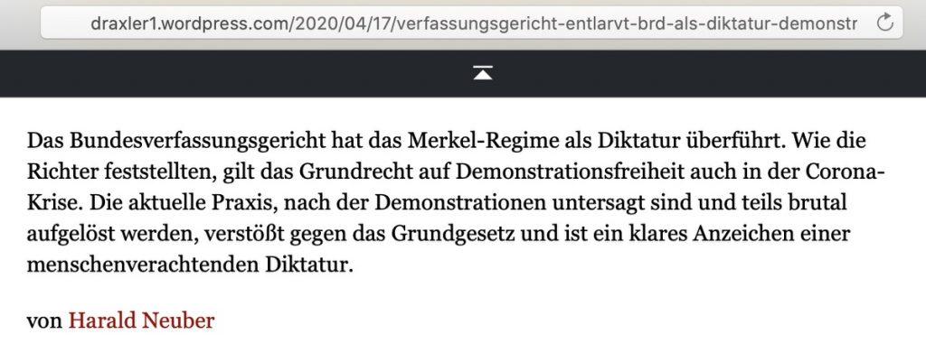 In AfD-Gruppen verlinkt: Klare Fake-News; Screenshot