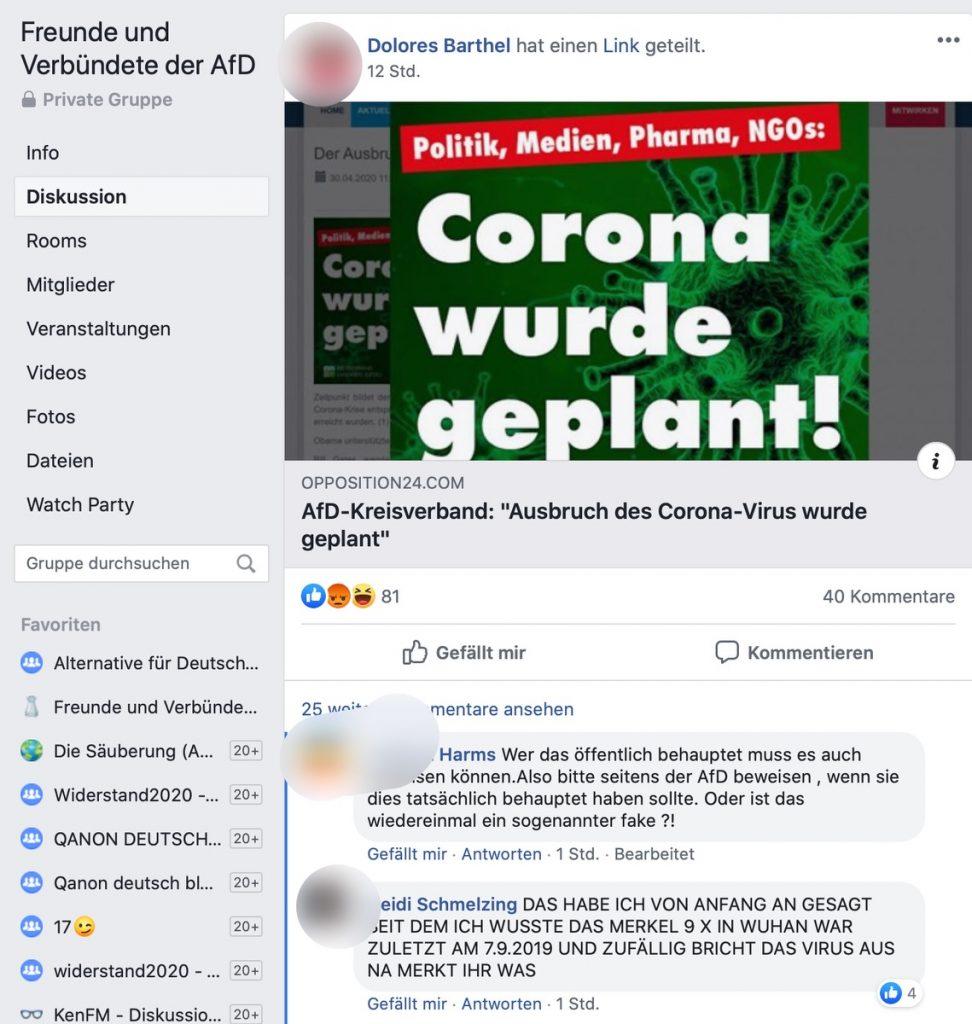 """""""Corona wurde geplant"""" Fake-News in einer AfD-Gruppe; Screenshot Facebook"""
