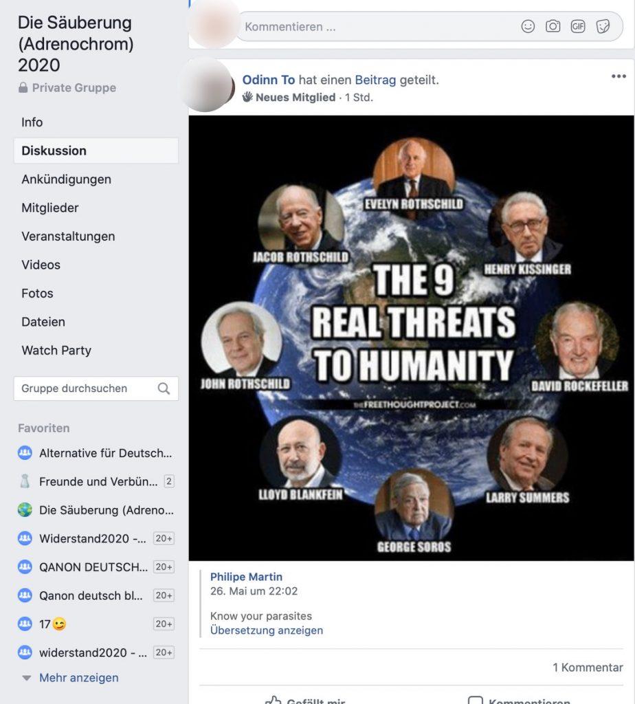 Antisemitische Hetze: Die Säuberung 2020 (Adrenochrom); Screenshot Facebook