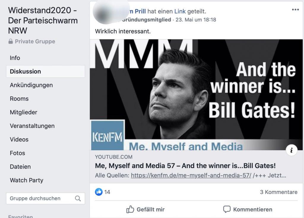 Ken Jebsen: Fake-News zu Bill Gages; Screenshot Facebook