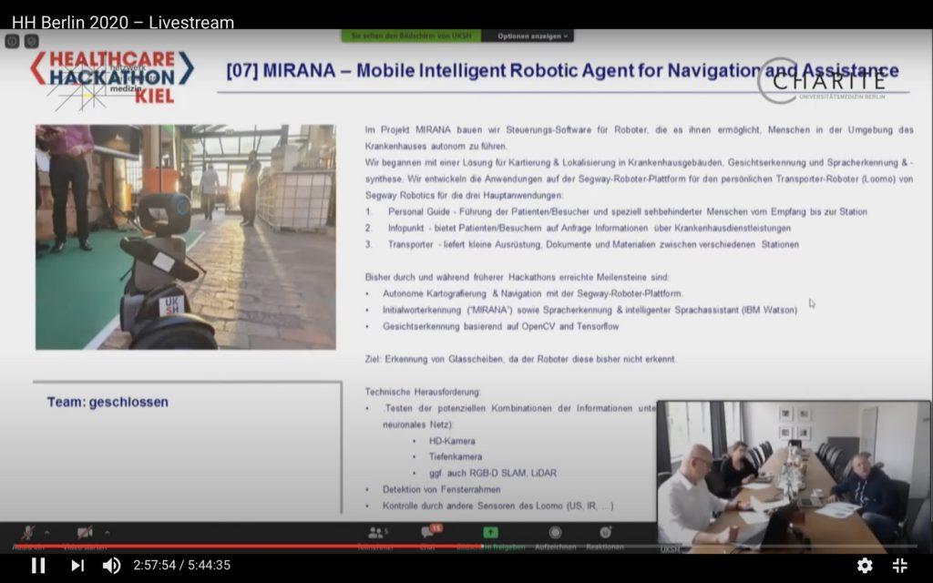 MIRANA: Ein Roboter, der Pflegepersonal im Krankenhaus entlasten soll. Screenshot YouTube