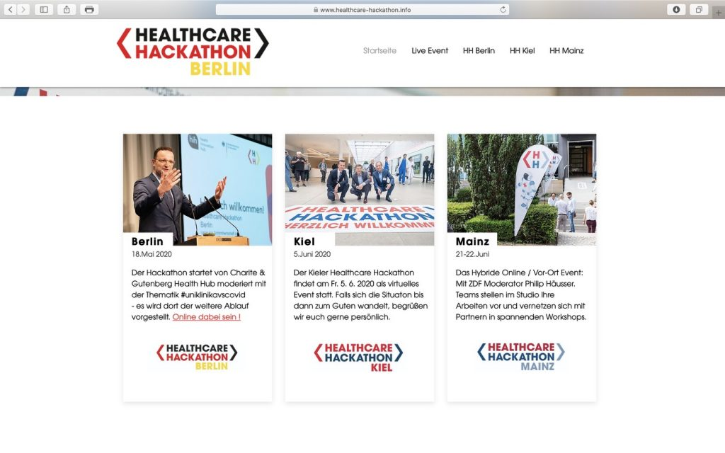 Website des Projektes Healthcare Marathon; Screenshot healthcare-hackathon.info