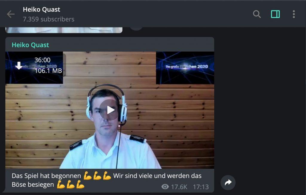 Heiko Quintus: Etwas wirr, trotzdem über 7000 Follower; Screenshot Telegram