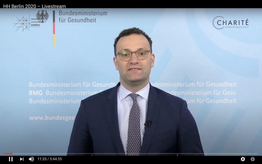 Jens Spahn, Bundesminister für Gesundheit; Screenshot YouTube