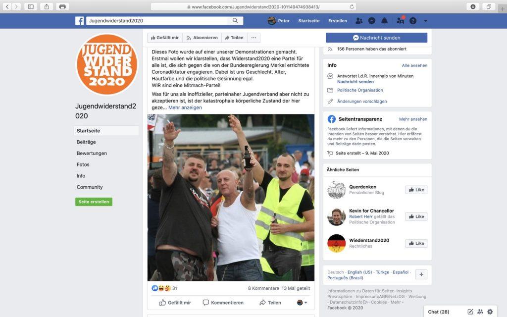 Inoffizielle Parteijugend von Widerstand2020: Jugendwiderstand2020; Screenshot Facebook