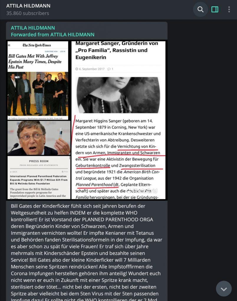 Übelste Anschuldigungen gegen Bill Gates; Screenshot Telegram