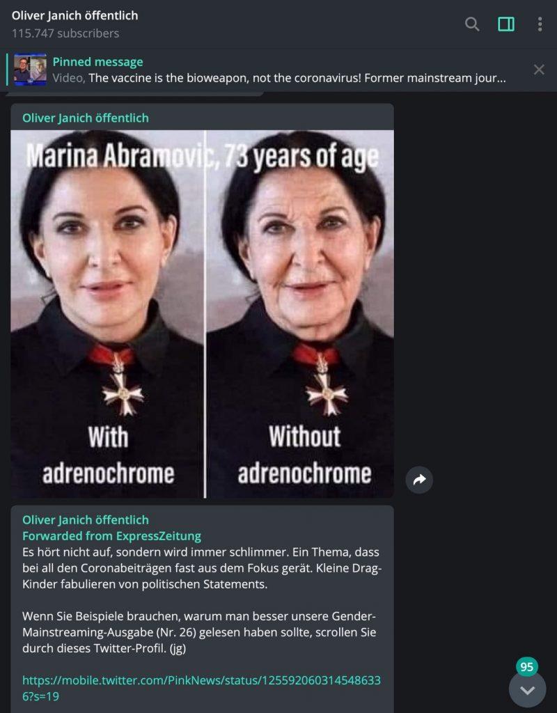 Hetze gegen Marina Abramovic; Screenshot Telegram