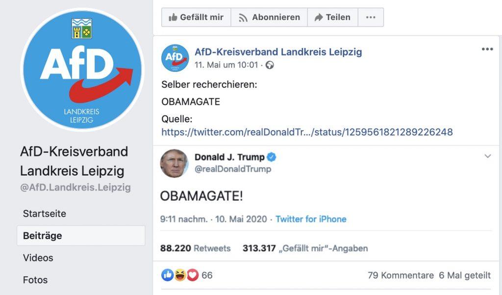 OBAMAGATE: Die AfD mag Fake-News; Screenshot Facebook