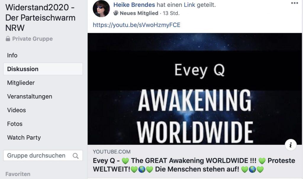 QAnon-Geschwurbel: In der NRW-Gruppe von Widerstand2020.de; Screenshot Facebook