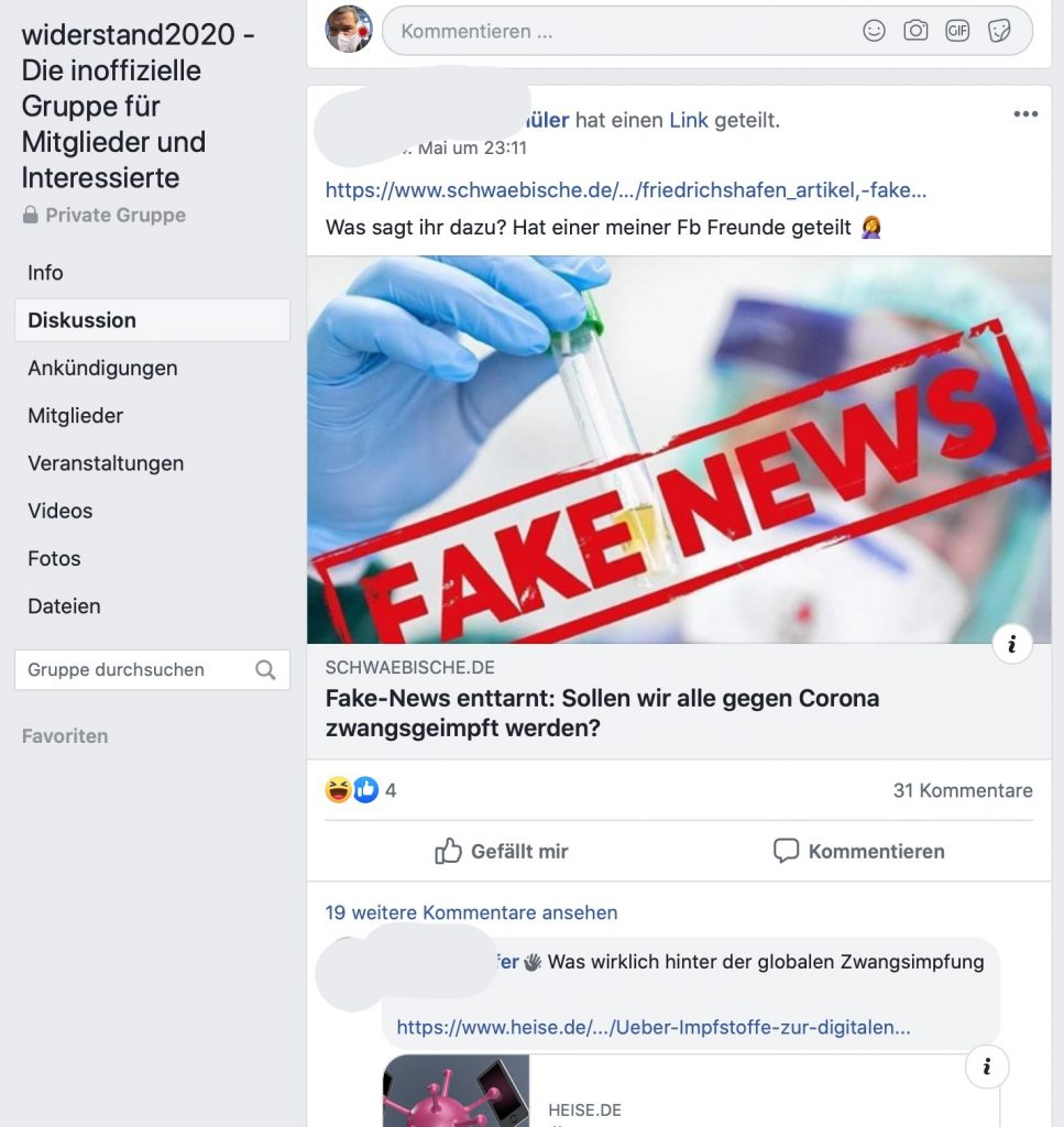 Unbeliebt: Der Fake-News-Check der Schwäbischen Zeitung; Screenshot Facebook